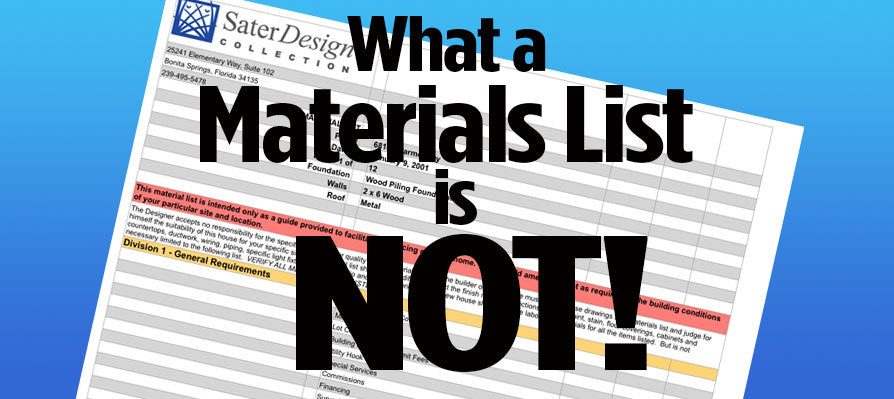 What a Materials List is Not