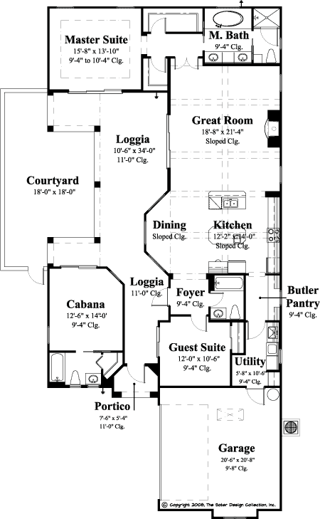 Courtyard house plans and pools sater design collection for Narrow lot house plans with courtyard