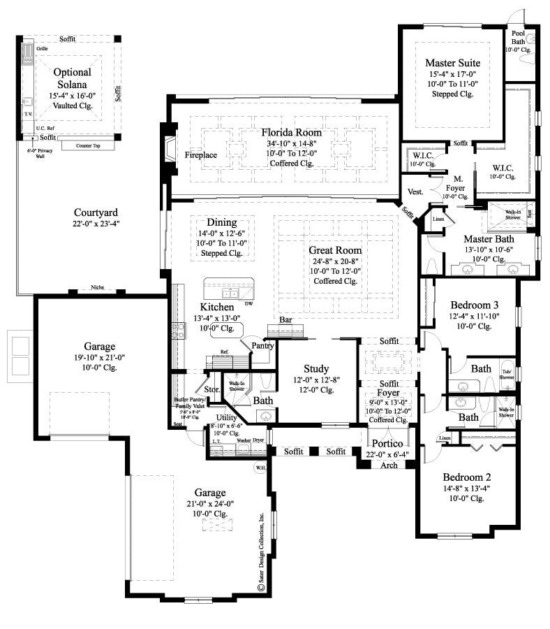 Home plan carlton sater design collection Slab home floor plans