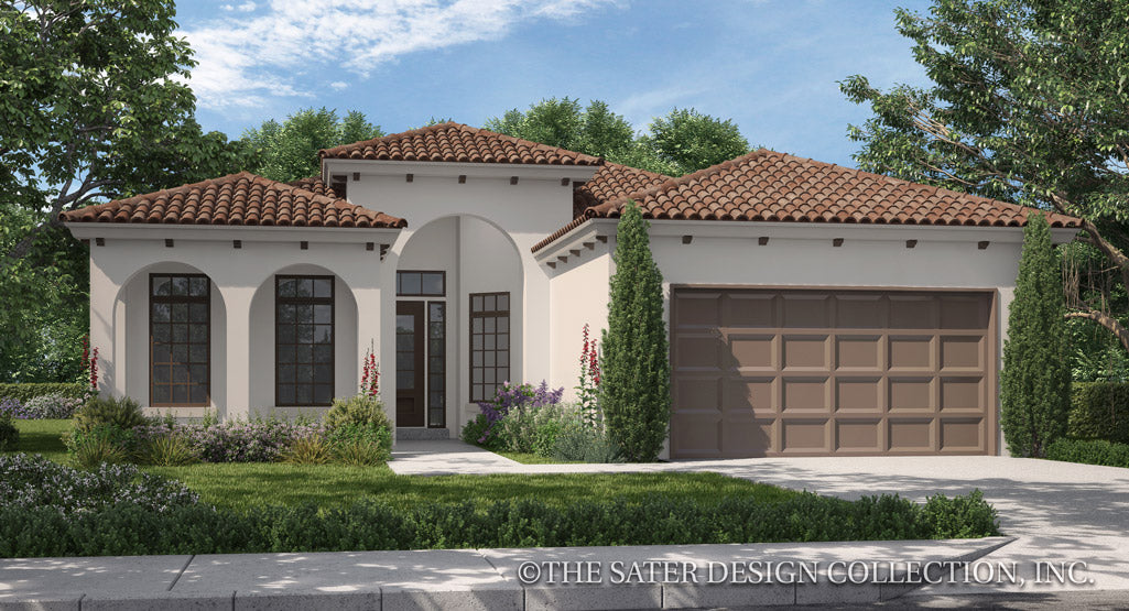 Bonito Mediterranean Style house plan front elevation rendering