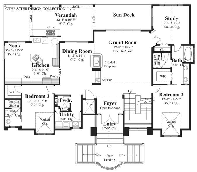 Home Plan Galleon Bay | Sater Design Collection