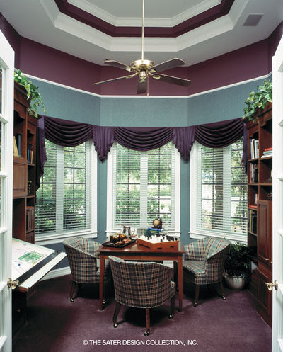 The study has detailed ceilings and large windows