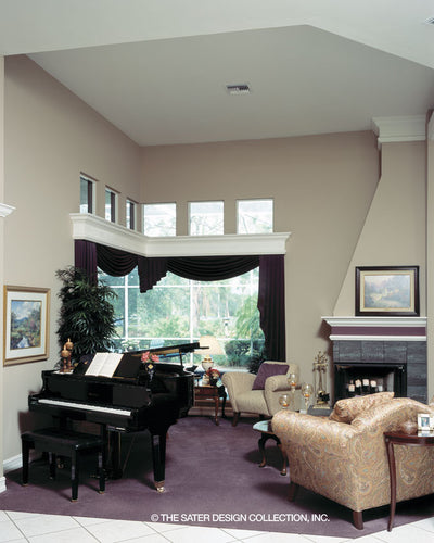 Tall ceilings and expansives views in this livingroom