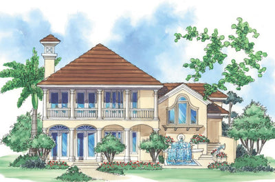 rendering of the house plans, rear view