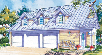 Three Car Garage Front Render Image by Sater Design Plan # 6704