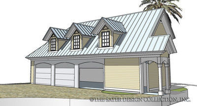Three Car Garage-Front Render Image-Plan #6704