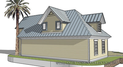 Three Car Garage-Rear Elevation-Plan #6704