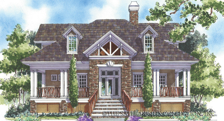 Stone Bridge-Front Elevation-Plan #6832