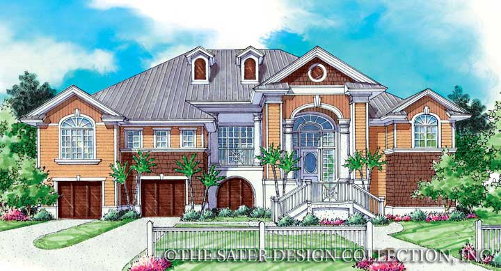 Laguna Beach-Front Elevation Render-Plan #6834
