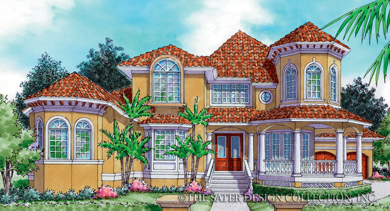 Sunset Beach-Front Elevation- Plan #6848