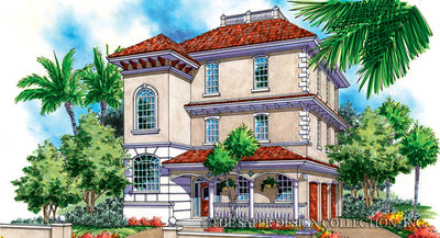 Villa Caprini-Front Elevation-Plan #6854