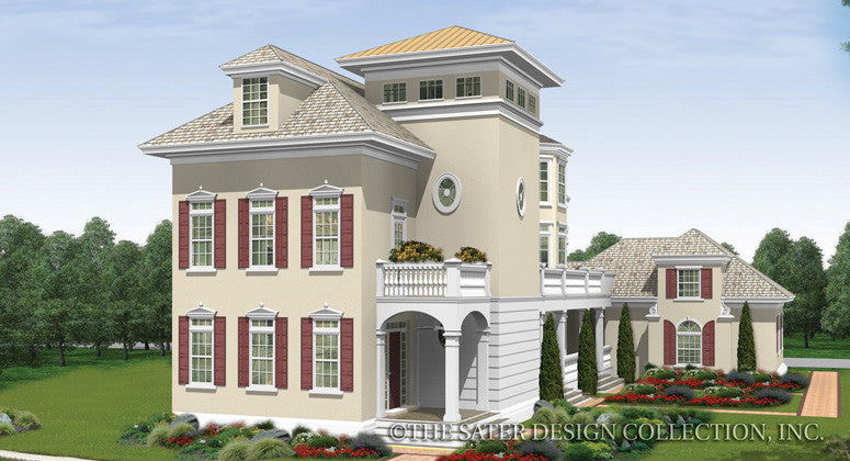 Berkshire Bluff - Front Elevation Render Image- Plan #6880