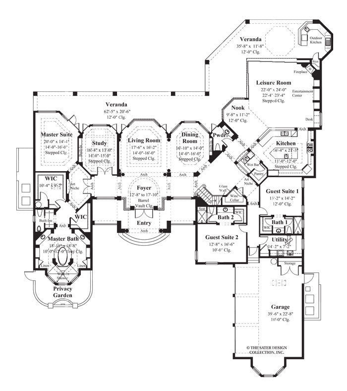 Home plan la ventana sater design collection for Sater design house plans