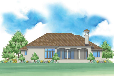 Andalusian style house plan rear exterior
