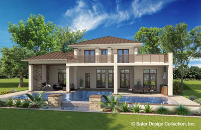 Sondelle Modern Style House Plan Rear Elevation rendering