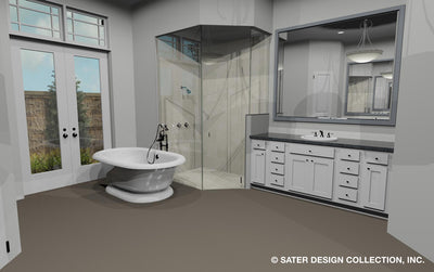 Emery House Plan master bath shower and tub