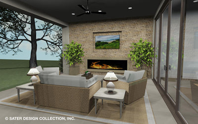 Emery House Plan outdoor fireplace