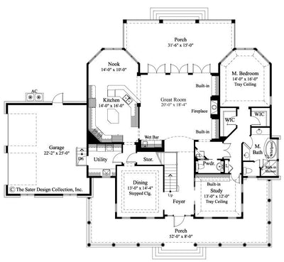 Oak Island Home Main Level Floor Plan 7062