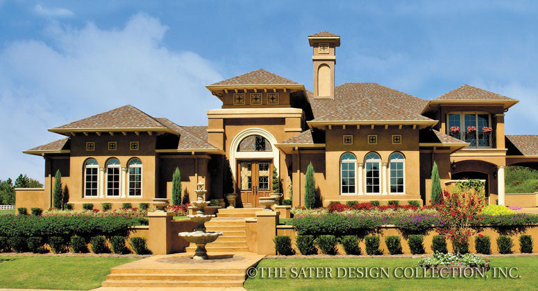 Mediterranean House Front Elevation : Home plan la reina sater design collection