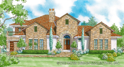 Monte Rosa home design front elevation color rendering