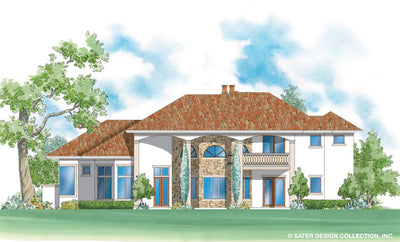 Monte Rosa home design rear elevation color rendering