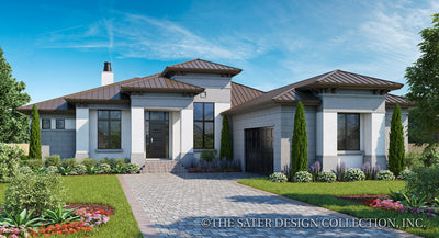 Riverside home design front elevation rendering