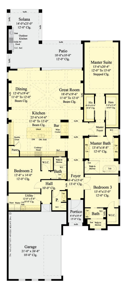 Anvard Luxury Narrow Lot Villa | Sater Design Collection ... on coastal house plans narrow, deck plans narrow, small cottage house plans narrow,