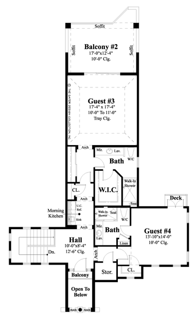 Caspian-Upper Level Floor Plan-Mediterranean Home Plan