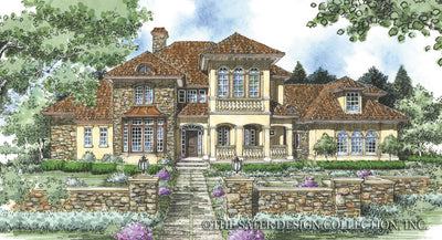 Chadbryne Home - European style house plan front rendering #8004