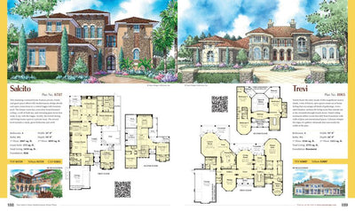 Dan Sater's Classic Mediterranean Home Plans single plan page illustrated