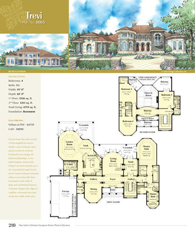 Ultimate European Home Plans Book by Dan F. Sater II, view of Page 210