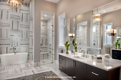 Waters Edge House Plan's master bath and walk-in shower