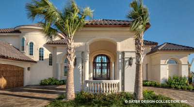 Mediterranean luxury house front entrance photo