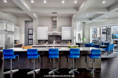 Waters Edge House Plan's large kitchen island bar