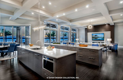 Waters Edge House Plan's kitchen with its views of the lanai