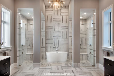 Waters Edge House Plan's his-and-hers walk-in showers and soaking tub