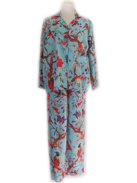 Bird of Paradise Cotton Pyjamas - Turquoise, [product type], Lullaby New Zealand