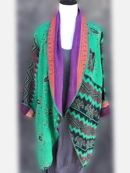 Reversible Coat - Green with purple, [product type], Lullaby New Zealand