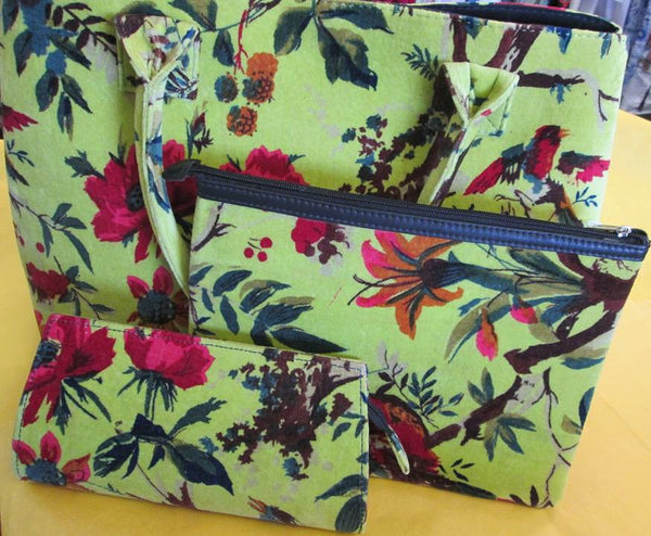 Floral Velvet Carpet Bag - Accessories - Lime - Lullaby New Zealand - 4