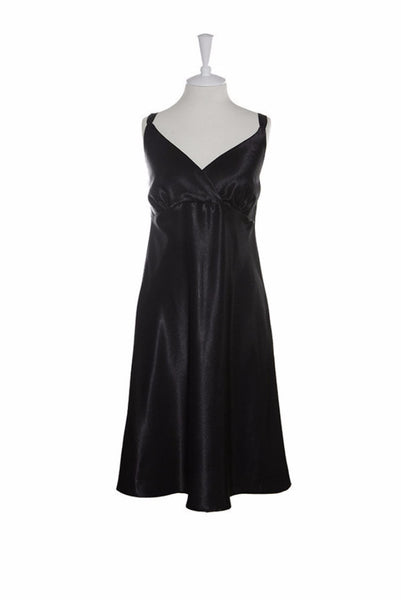 Nightdress Silk Crossover - Nightdress - Small / Black - Lullaby New Zealand - 1