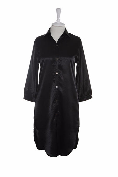 Nightshirt Silk - Nightshirt - Small / Black - Lullaby New Zealand - 2