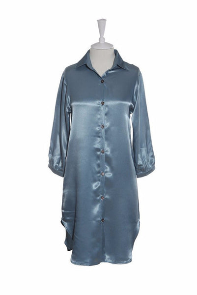 Nightshirt Silk - Nightshirt - Small / Blue - Lullaby New Zealand - 3