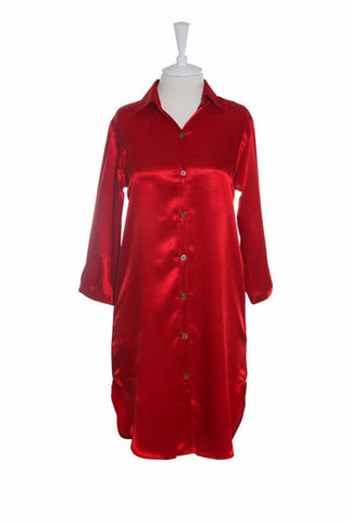 Nightshirt Silk - Nightshirt - Small / Red - Lullaby New Zealand - 1