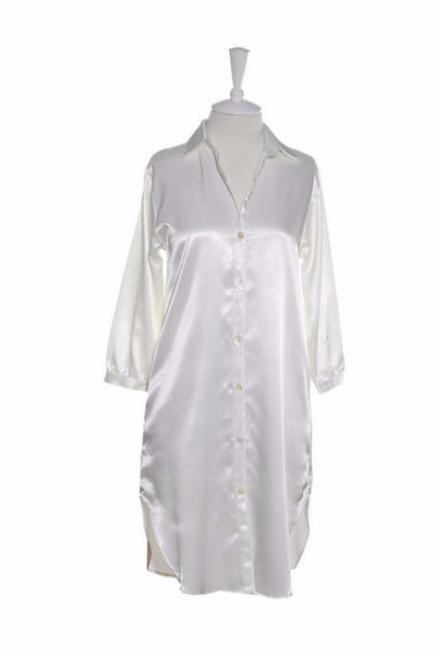 Nightshirt Silk - Nightshirt - Small / White - Lullaby New Zealand - 4