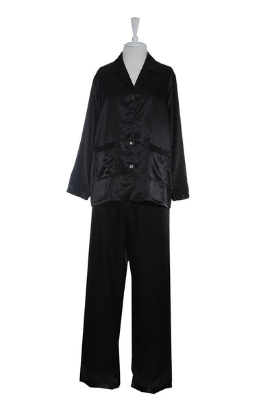 Pyjamas - Silk Satin - Pyjamas - Black / Small - Lullaby New Zealand - 1