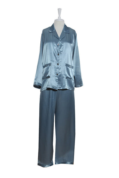Pyjamas - Silk Satin - Pyjamas - Blue / Small - Lullaby New Zealand - 4