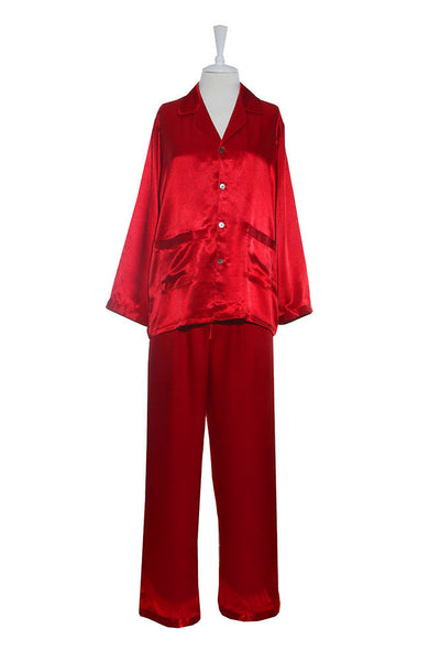 Pyjamas - Silk Satin - Pyjamas - Red / Small - Lullaby New Zealand - 3