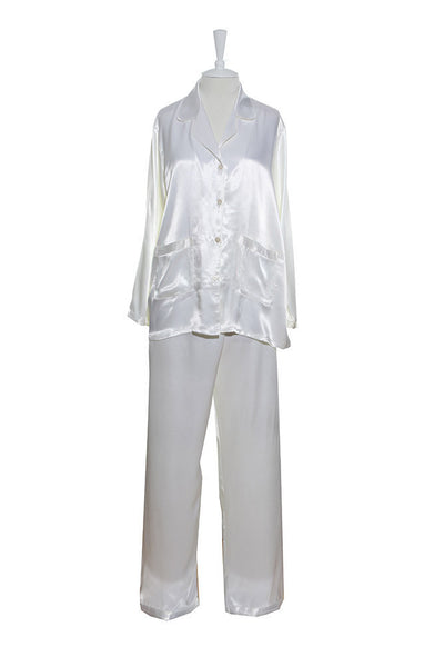 Pyjamas - Silk Satin - Pyjamas - White / Small - Lullaby New Zealand - 2