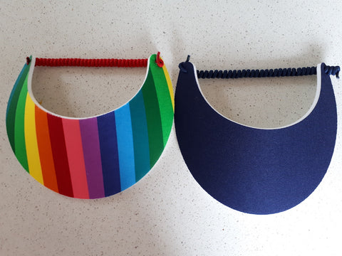 Sun Visors - Rainbow and Navy