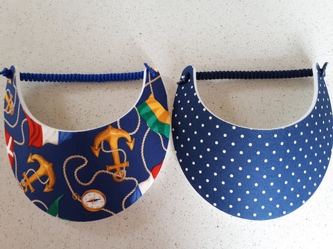 Sun Visors - Navy Spot and Nautical, [product type], Lullaby New Zealand